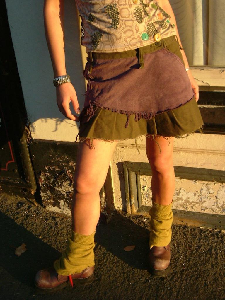 twisted denim skirt