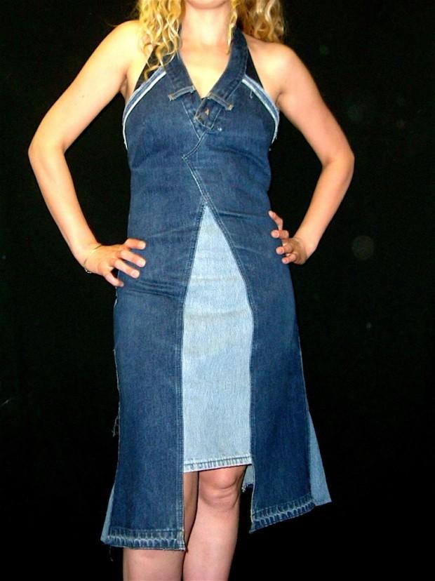 customised strapless denim dress
