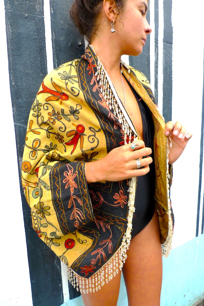beaded fringe kimono