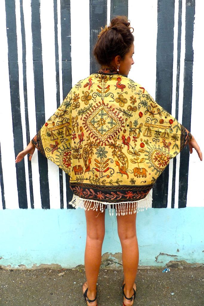 beaded ethnic yellow kimono