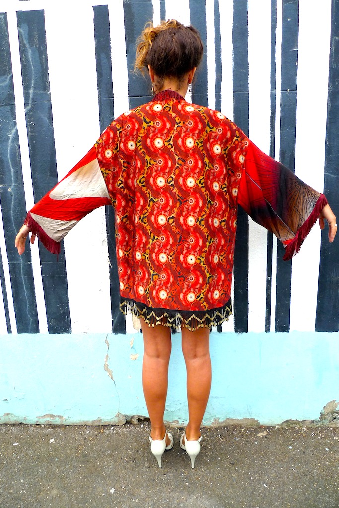 red printed kimono