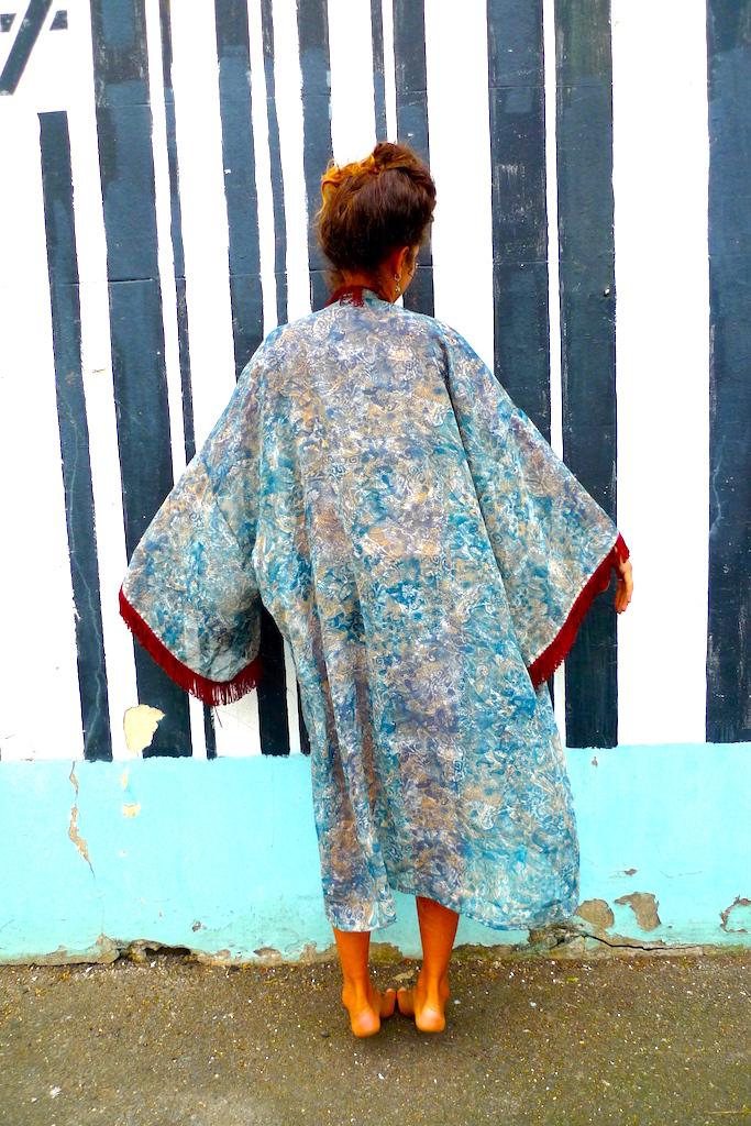 upcycled tassle kimono