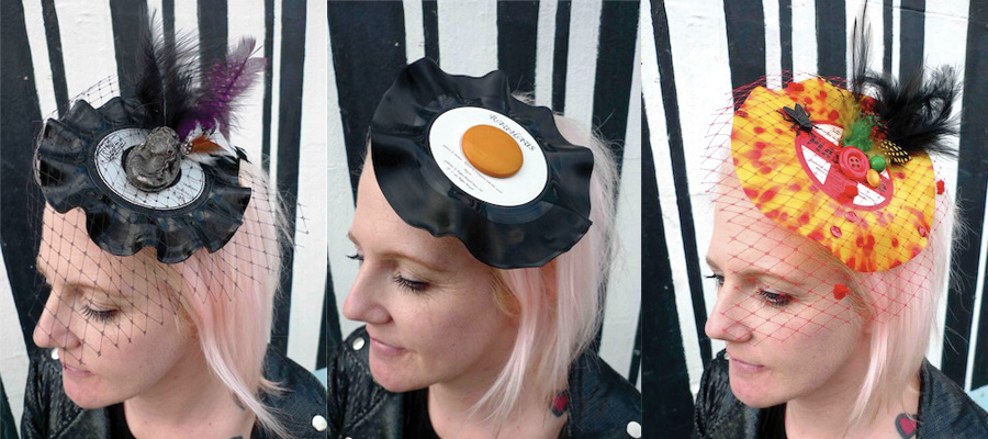 upcycled vinyl egg fascinator