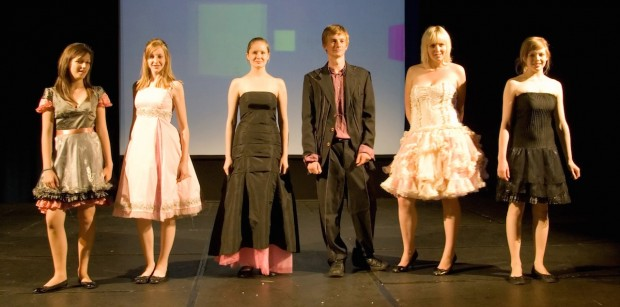 eco fashion show dress and suit
