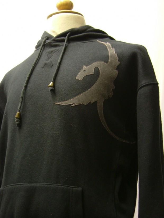 upcycled eco customised dragon sweatshirt black