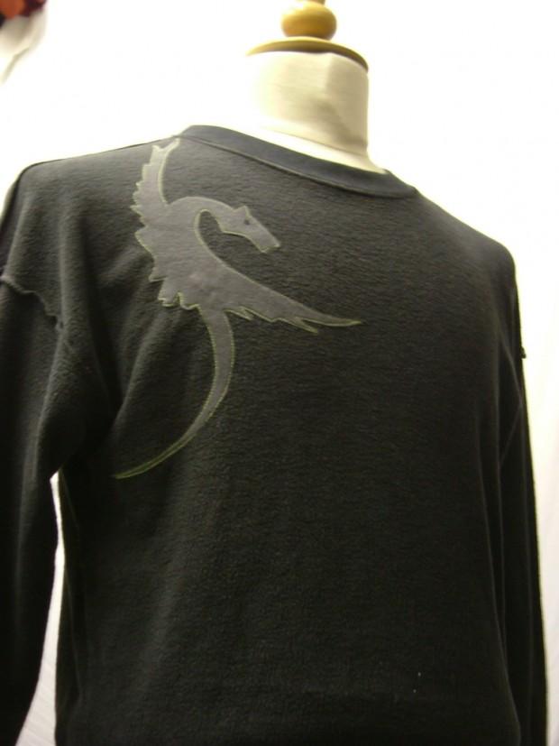 upcycled eco customised dragon sweatshirt grey