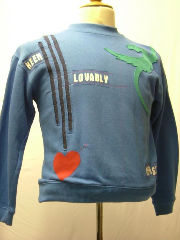 upcycled eco customised dragon sweatshirt blue