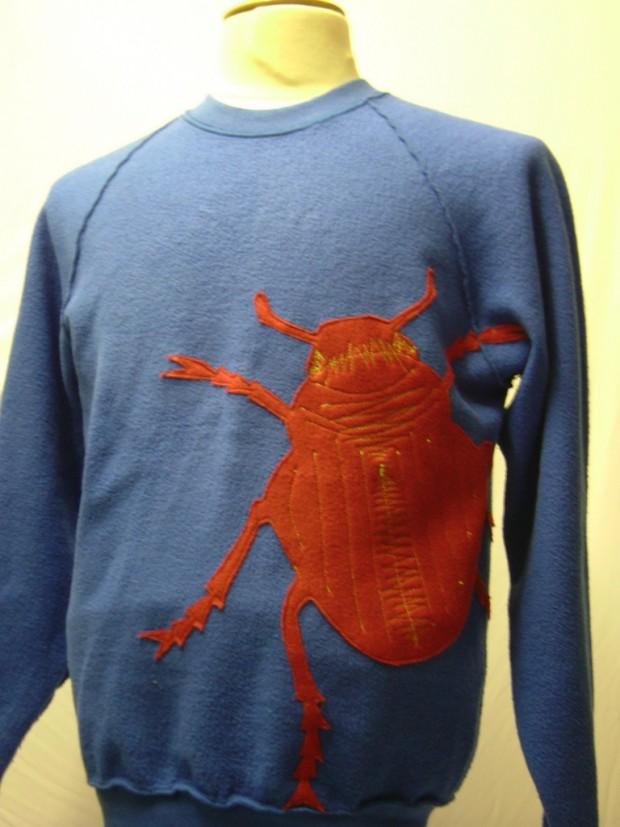 upcycled eco customised bug applique blue sweatshirt