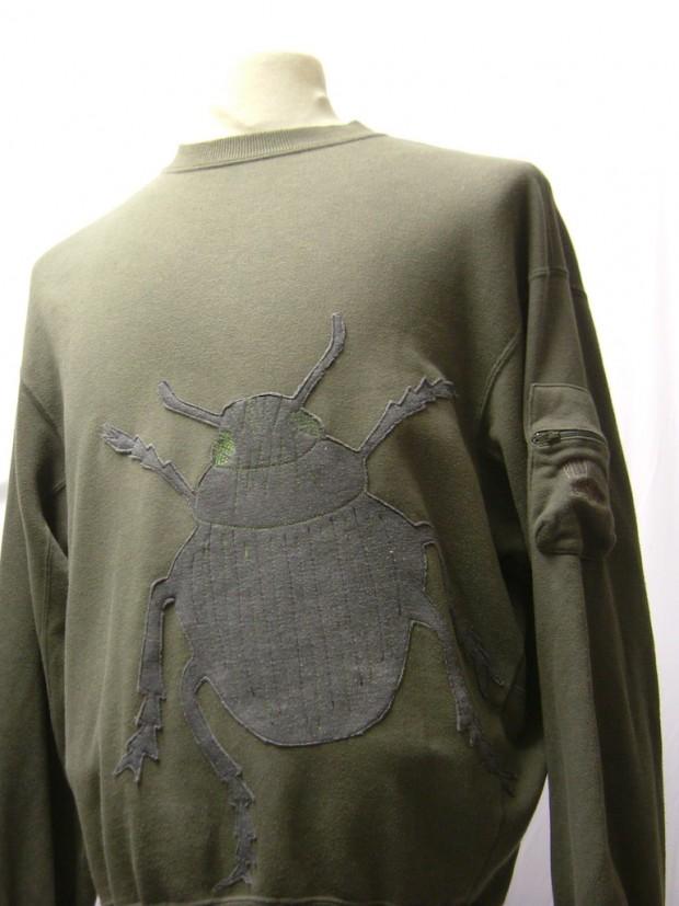 upcycled eco customised bug applique grey sweatshirt