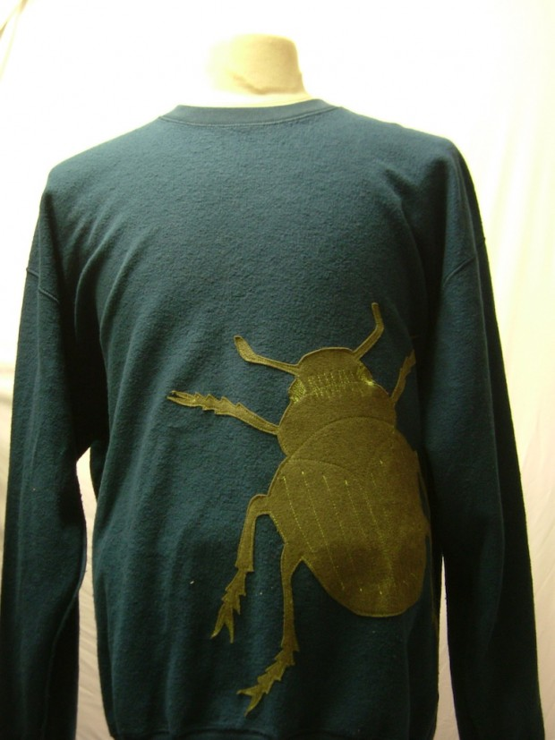 upcycled eco customised bug applique green sweatshirt