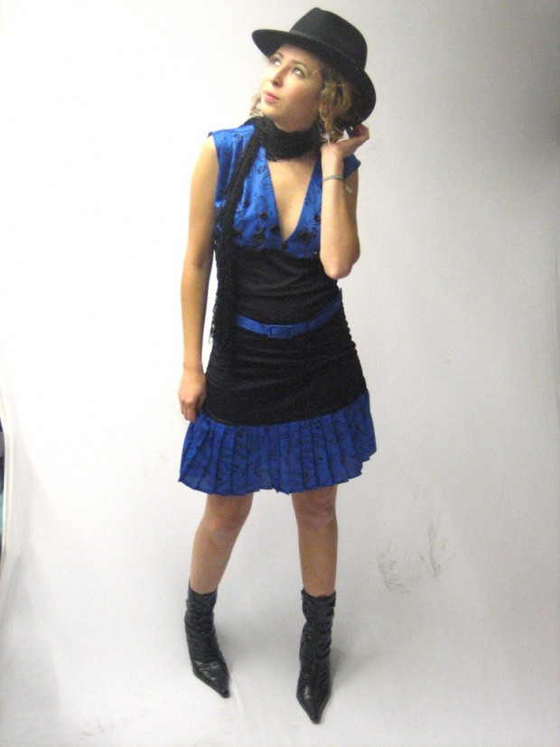 one off 20s inspired pleated blue dress