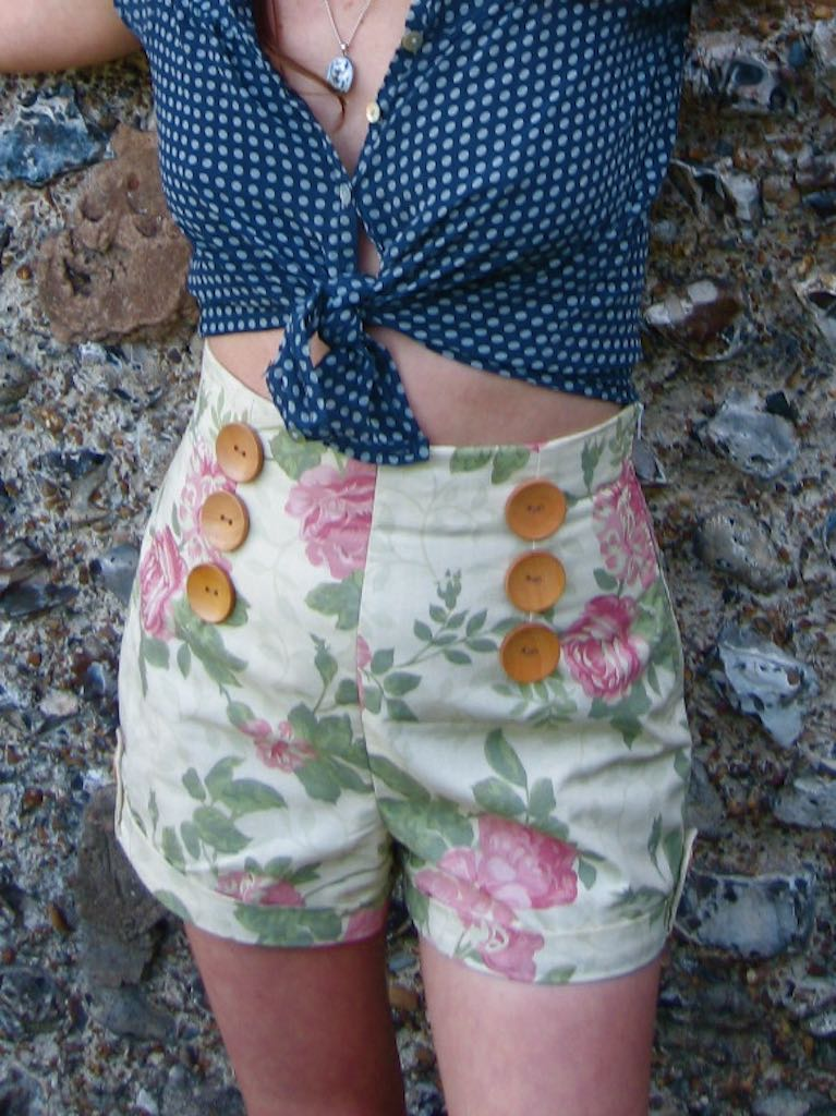 high waisted floral eco shorts upcycled from salvaged pillow case fabric