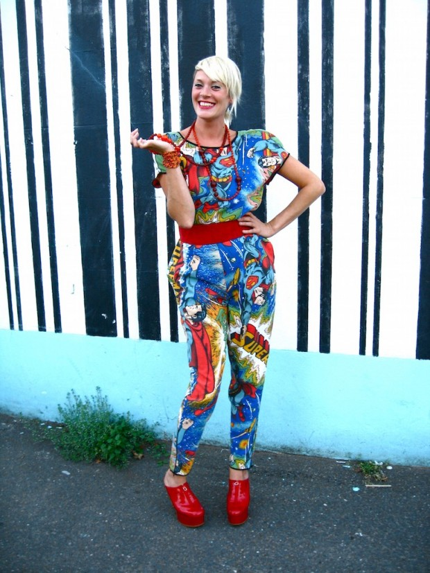 jumpsuit onesie upcycled from retro superman sheet bedding