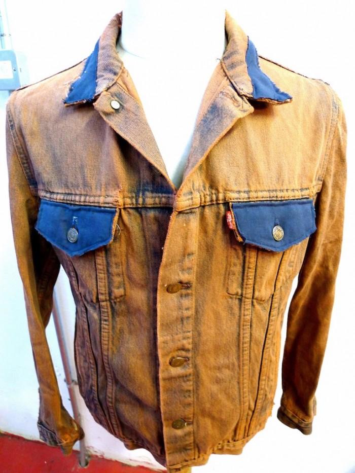 dyed stitched distressed levis denim jacket