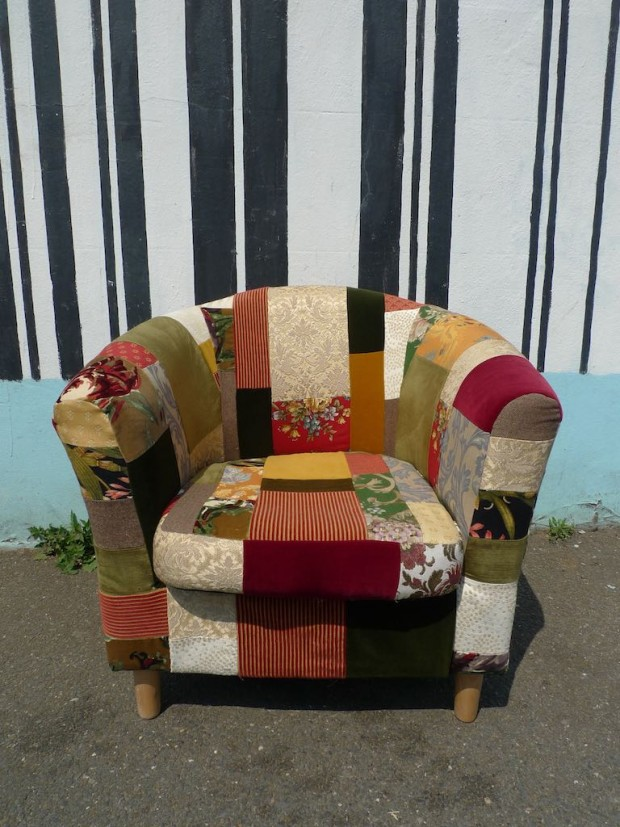 upholstery armchair patchwork upcycled