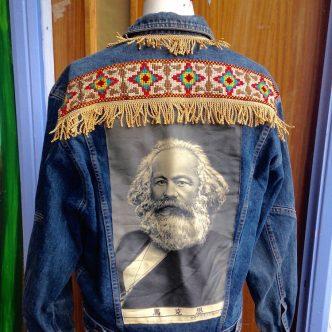 denim jacket Karl Marx fringing