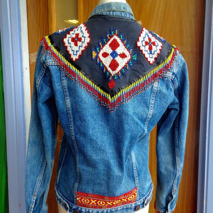 denim jacket hand beaded fringing