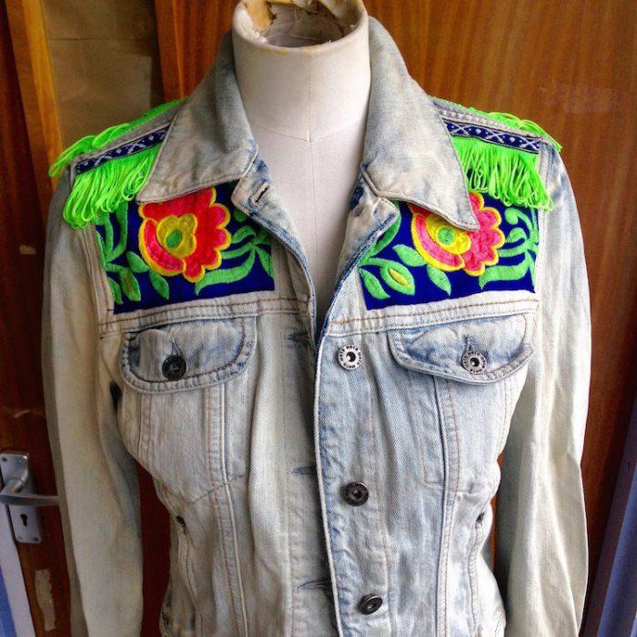 denim jacket neon floral trim