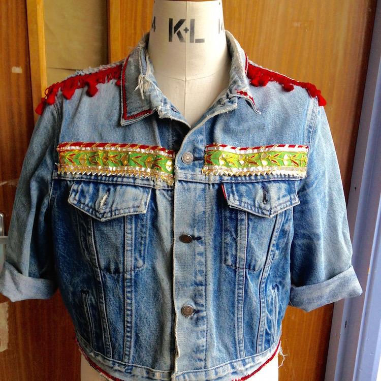 denim jacket sequin rose 2