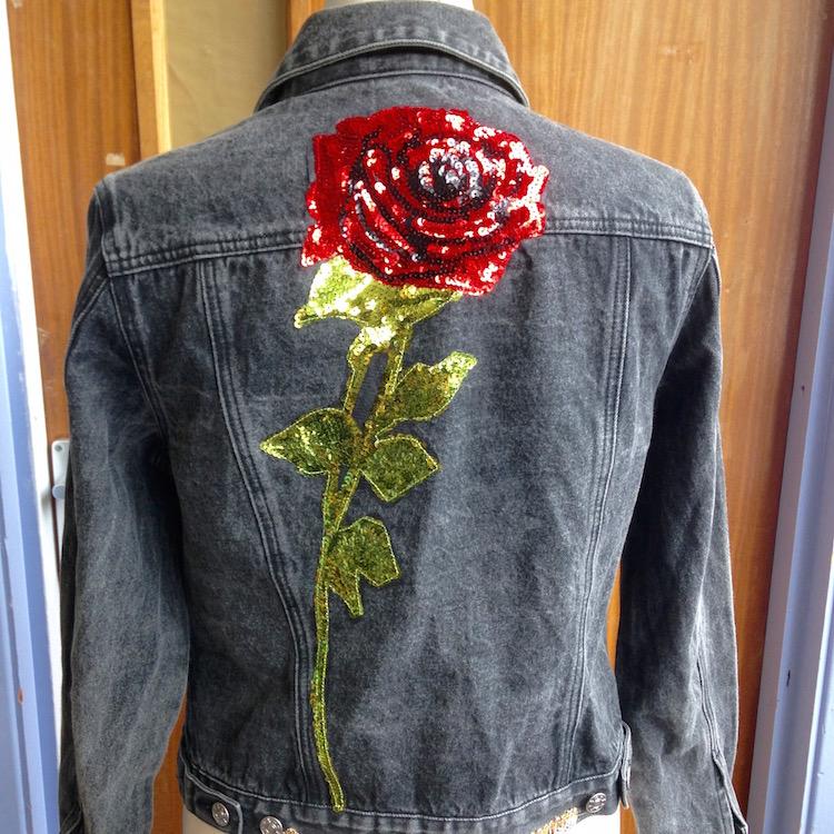 denim jacket sequin rose