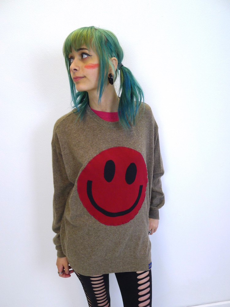 upcycled acid smiley red on brown wool jumper