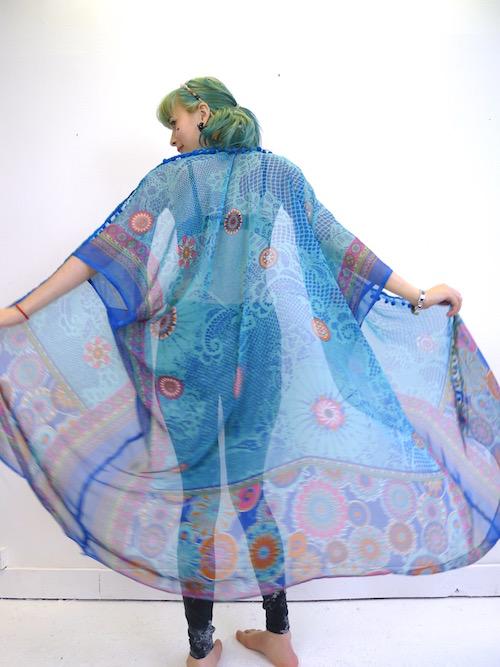 Upcycled Silky Blue Kimono