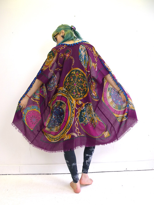 Upcycled Purple Pocket Watch Kimono