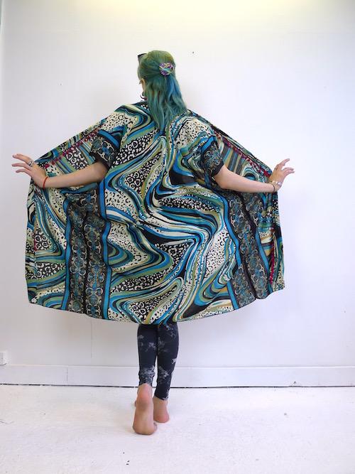 Upcycled Blue Waves Scarf Kimono