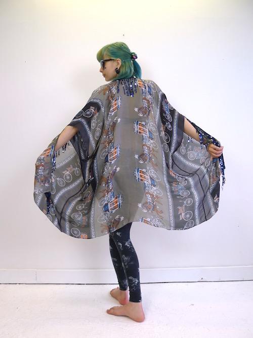 Upcycled Hermes Silk Scarf Kimono