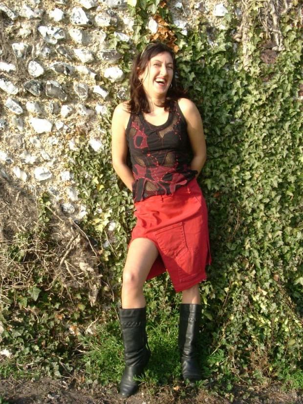 upcycled denim skirt applique vest top
