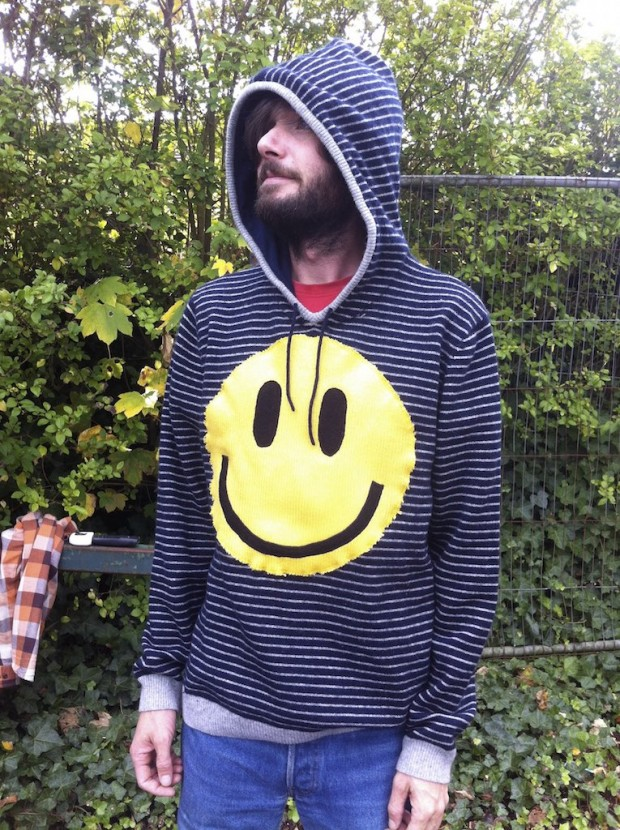 upcycled acid smiley hoodie
