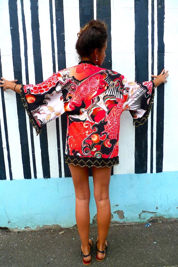 luxury print beaded kimono