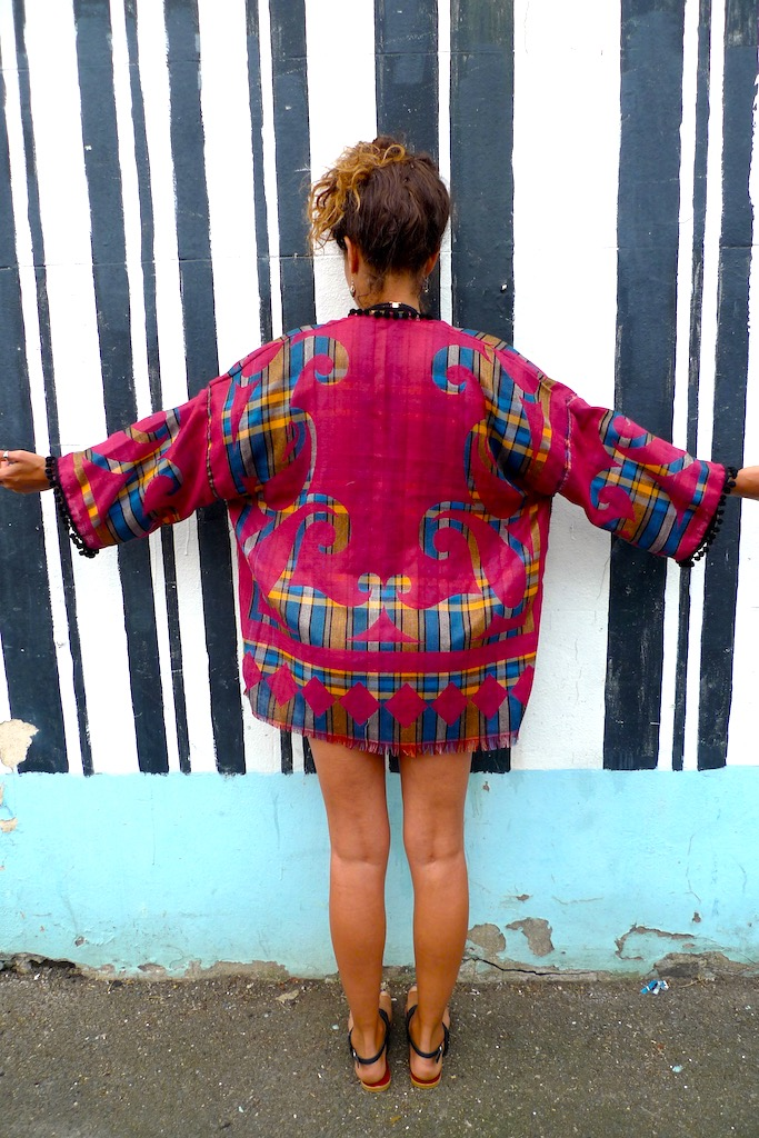 vibrant pompom kimono