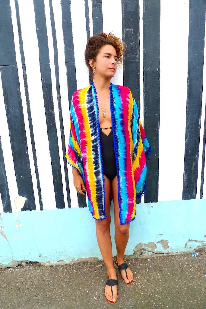 pompom stripey beach kimono