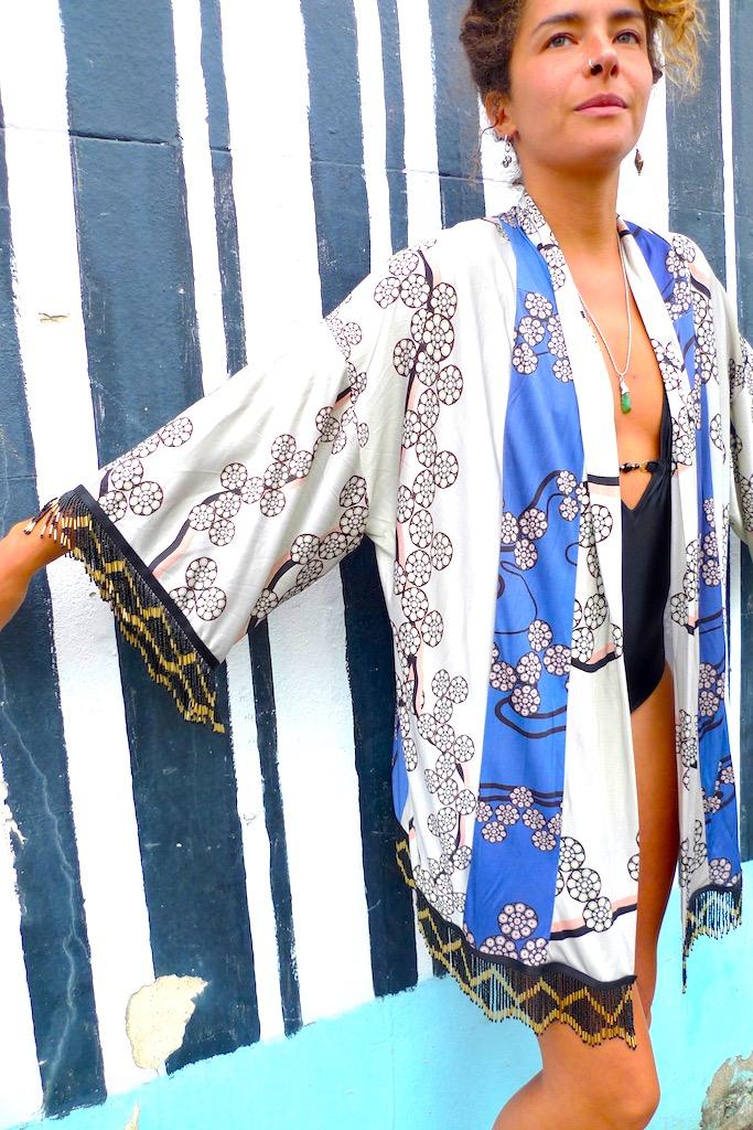 luxury japanese flower print kimono