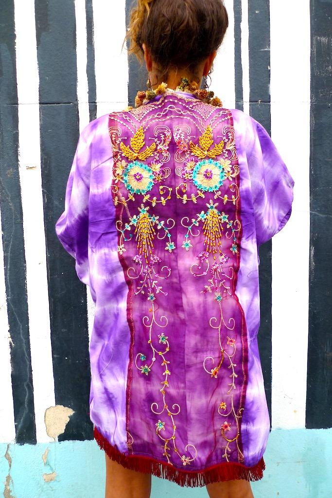 hand emroidered sequin kimono