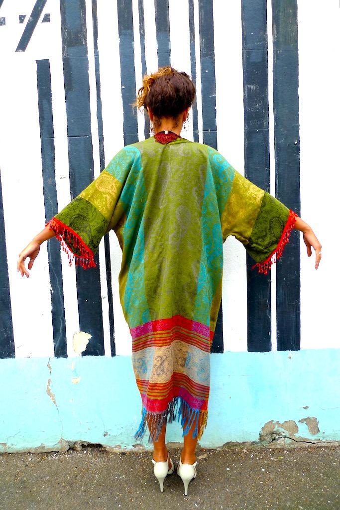 long green tassled kimono