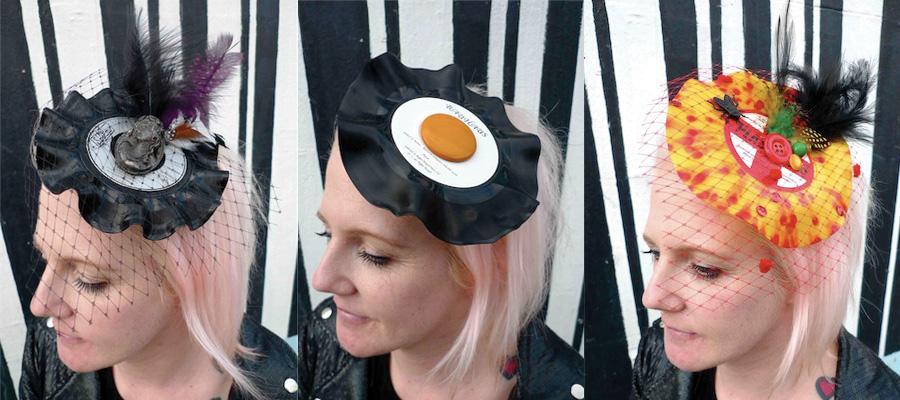 upcycled vinyl egg fascinator