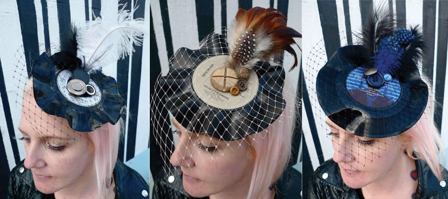 upcycled record fascinator