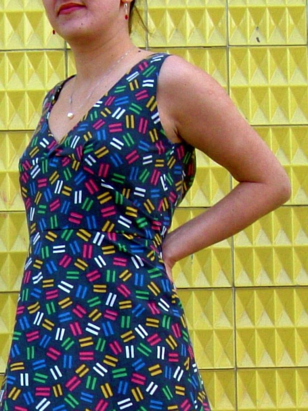 1950 style open back made to order cotton dress