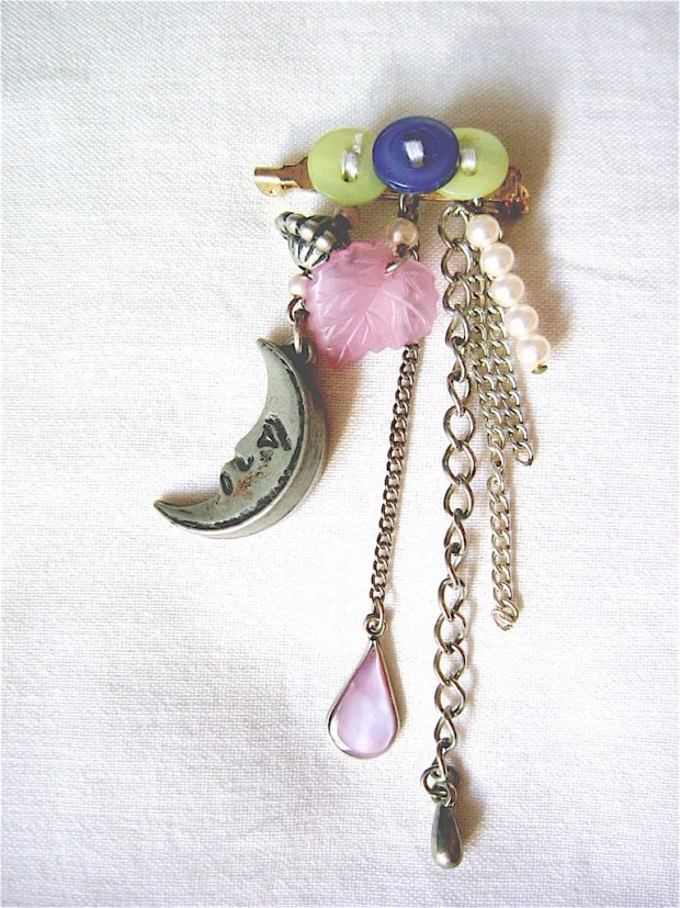upcycled jewellery button toy trinket brooch
