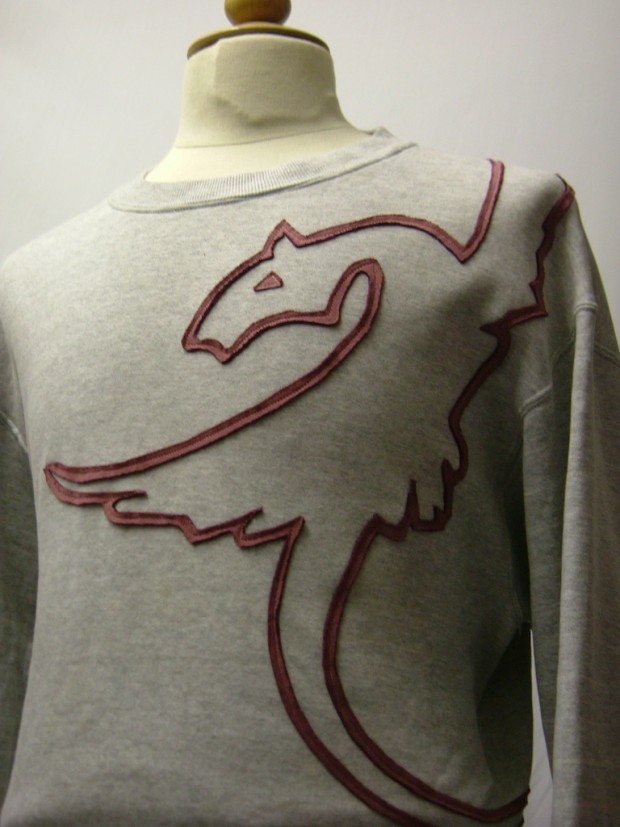 upcycled eco customised dragon sweatshirt grey