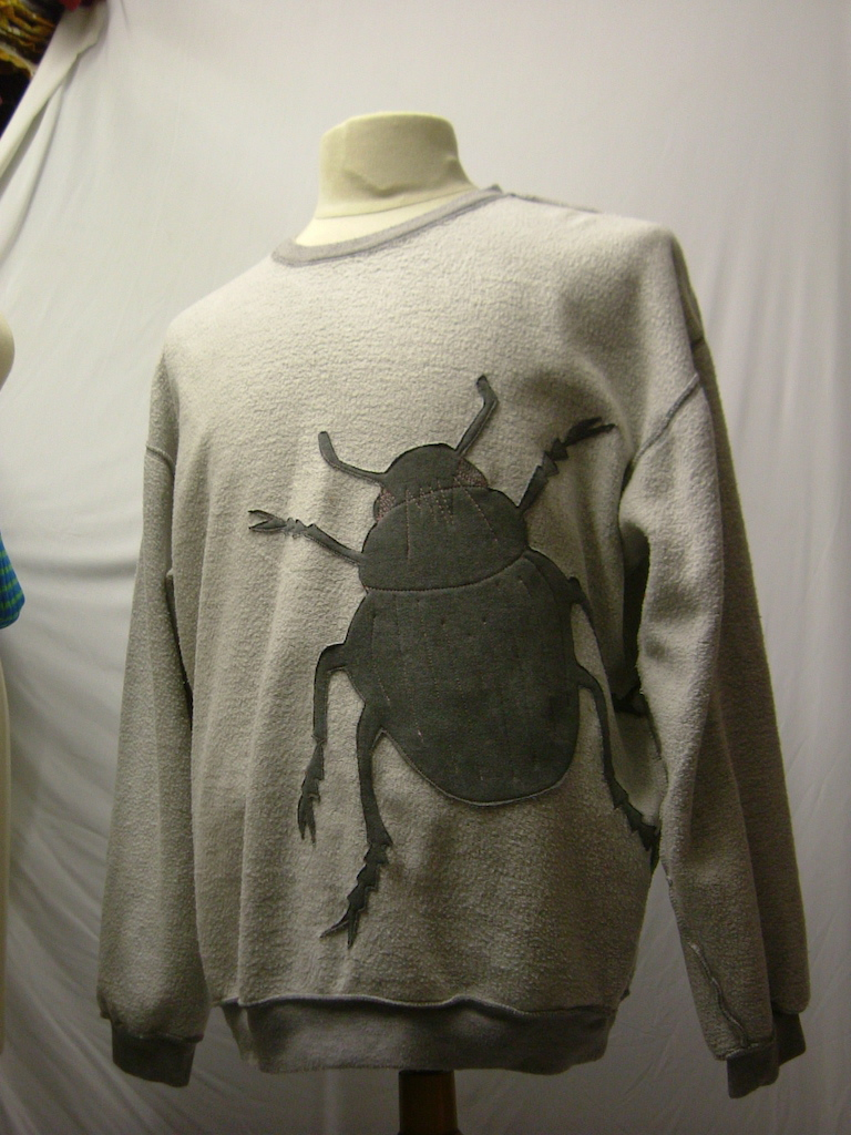 upcycled eco customised bug applique grey sweatshirt