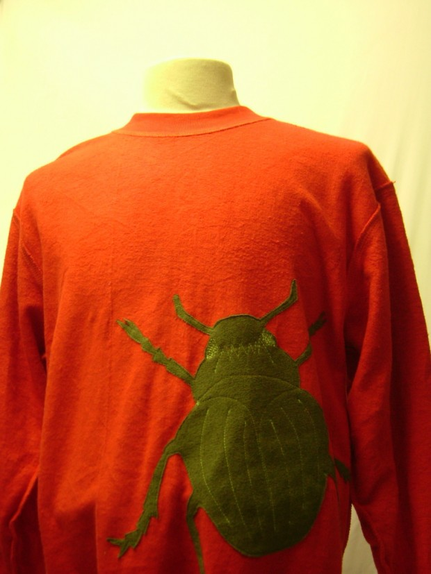 upcycled eco customised bug applique red sweatshirt