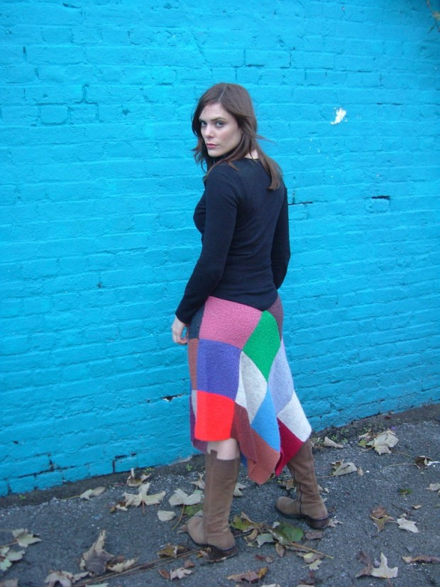 knitted patchwork blanket skirt