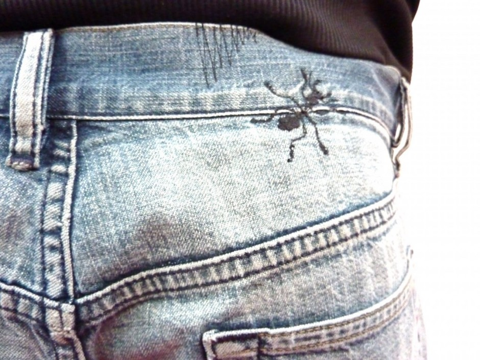 made to order customised embroidered ants insect jeans denim
