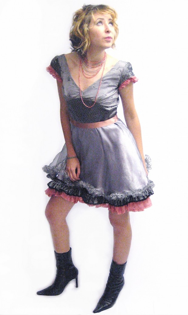 luxury eco clothing grey pink dolly dress