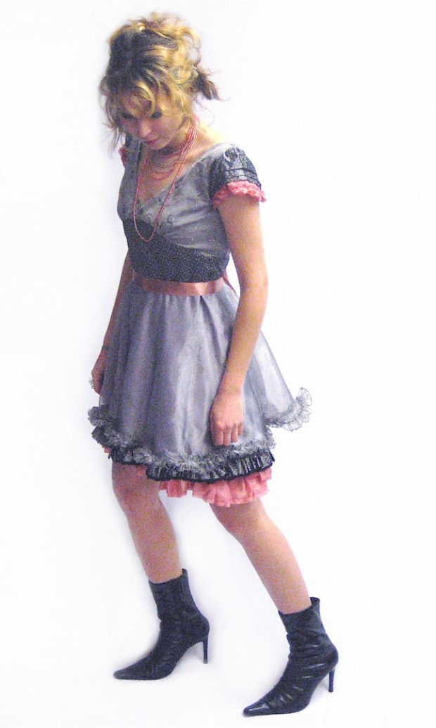 luxury eco clothing grey pink dolly dress