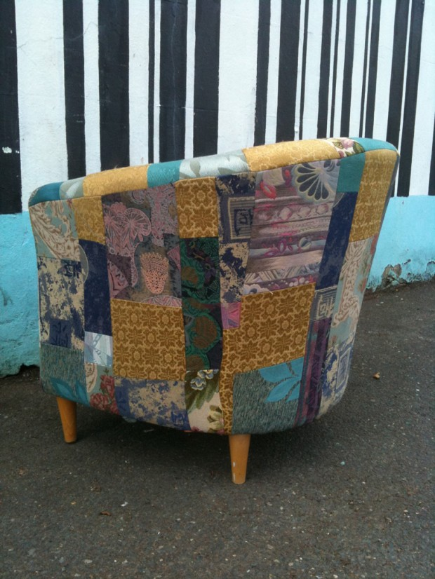 eco patchwork reupholstered armchair
