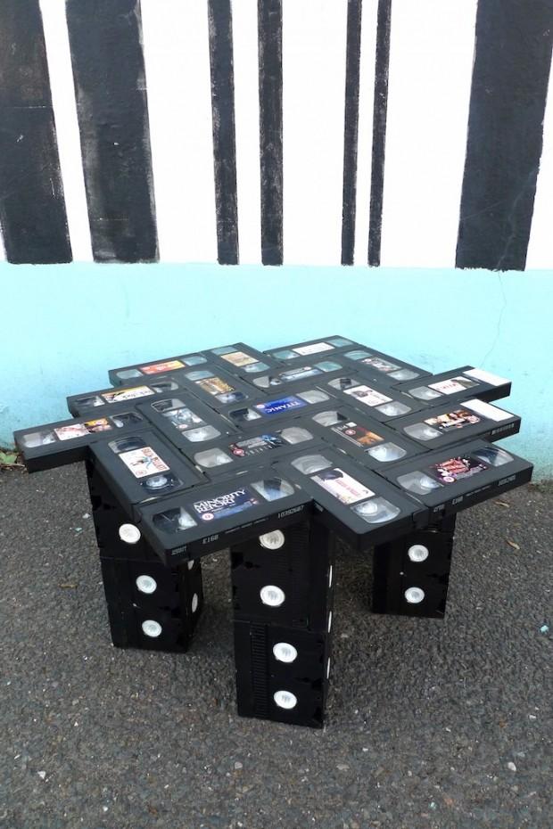 vhs table glue diy